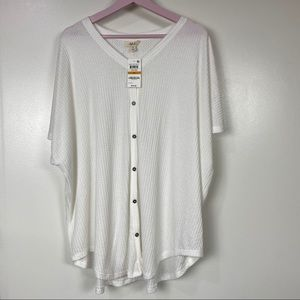 NWT Sz 3X Style & Co button up top, waffle fabric